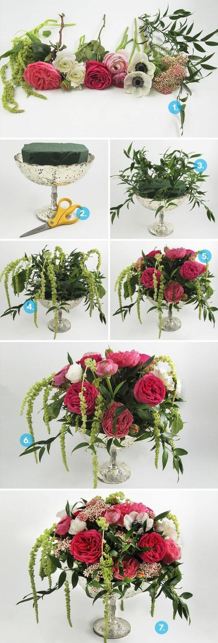 dekotipps, silberne vase, steckschwamm mit rosen, blumen arrangieren