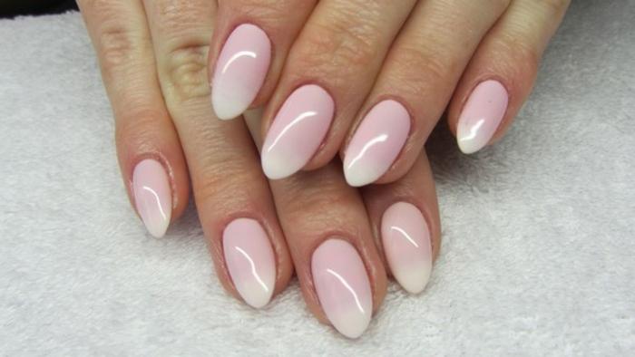 kunstnägel spitz dezente idee runde spitznägel selber formen und lackieren mit gellack rosa und weiß ombre