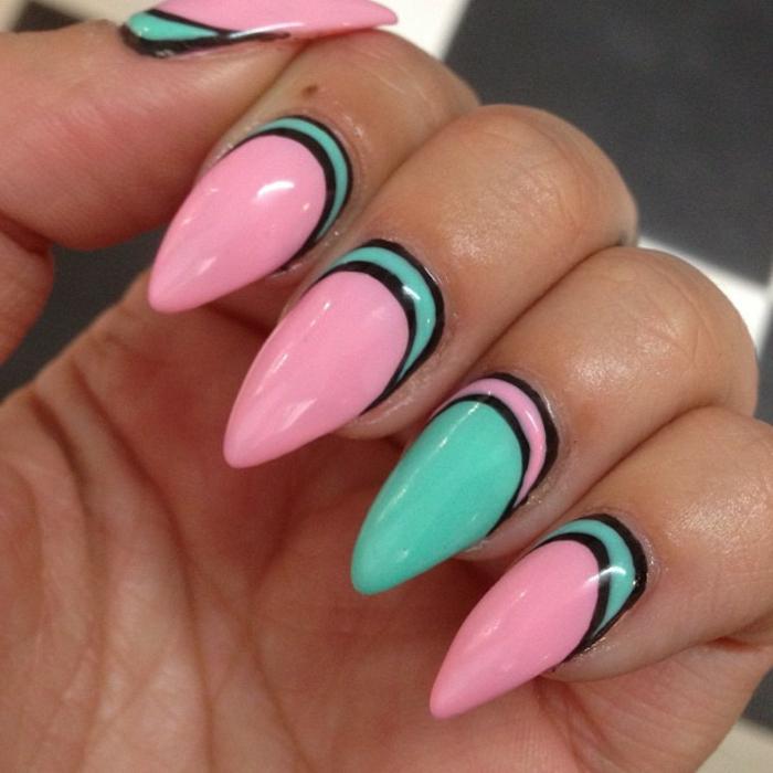fingernägel bilder schöne nägel lackieren rosa und grün türkis schwarze linien trennen die beiden tollen farben
