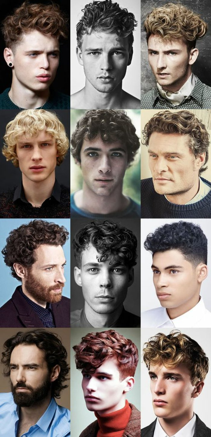 ideen fuer herrenfrisuren, locken stylen, tolle haarschnitte, lockiges haar