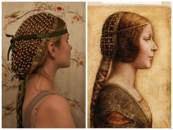 Mittelalterliche Frisuren wie aus einem Bild genommene Frisur - ganz authentisch
