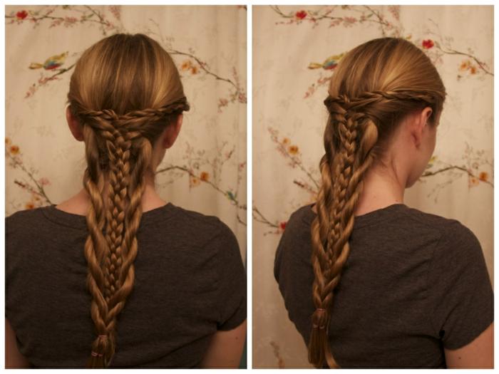 geflochtene Haare in komplizierter Frisur mit Zopf - mittelalterliche Frisuren