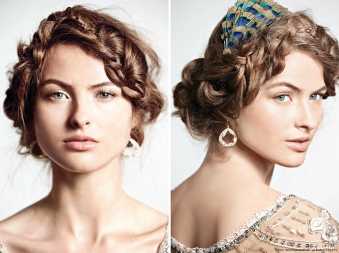junge, schöne Frau mit geflochtenen Haar, Hochsteck Frisur und einem Tuch - schöne Flechtfrisuren