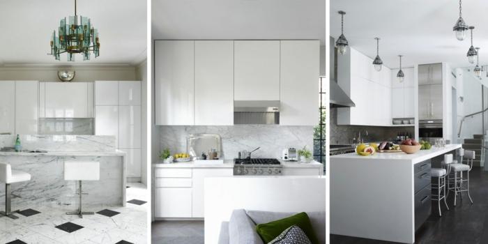weiße Küche mit Kristallkronleuchter, Marmorküche, Übergang zum Wohnzimmer