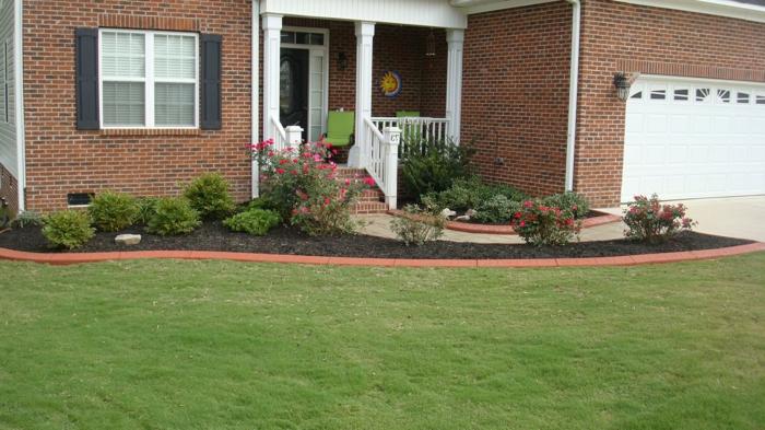grüner Rasen und rosa Rosen kleine Sträucher den Vorgarten pflegeleicht gestalten