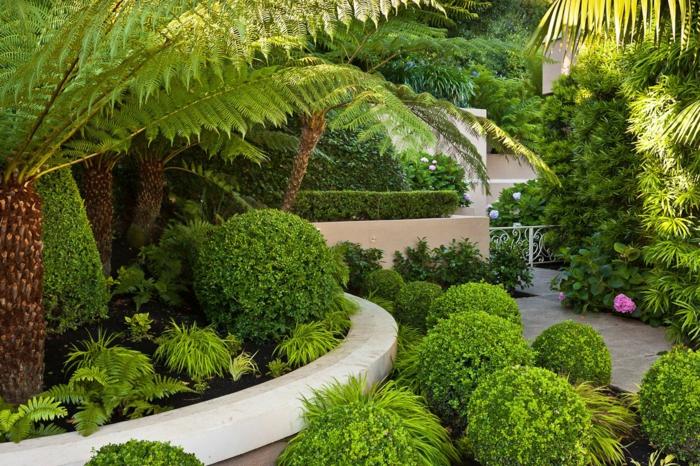 pflegeleichter Garten voller Grün Hecke und Ziersträucher und -bäume