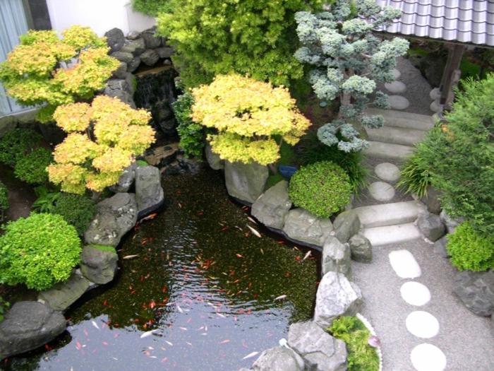 ein Teich mit Goldfischen gelbe Blumen ein Pfad aus Steinen