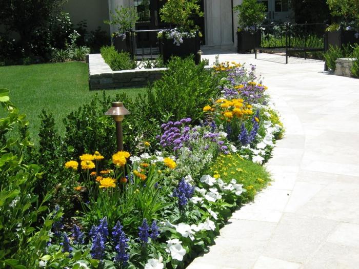 bunte Blumen um dem Pfad - pflegeleichte Gartenpflanzen und eine Lampe