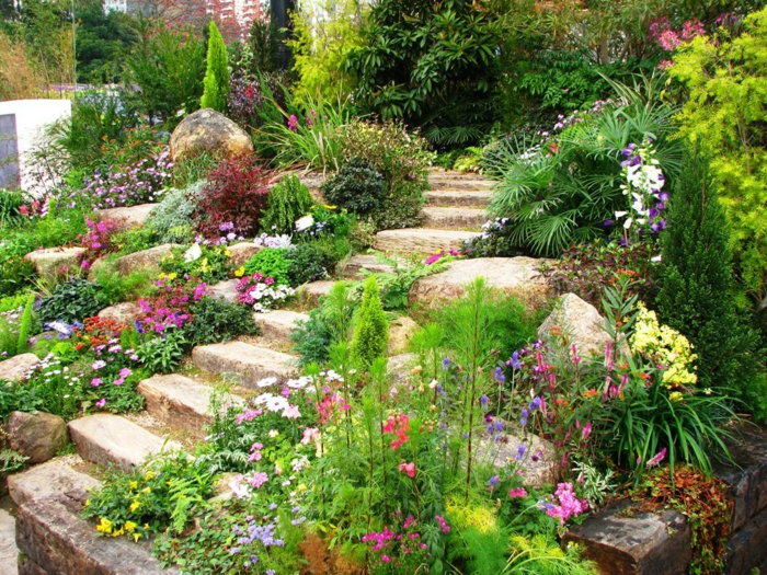 pflegeleichter Gartenpflanzen -bunte Blumen und Treppen aus Steinen