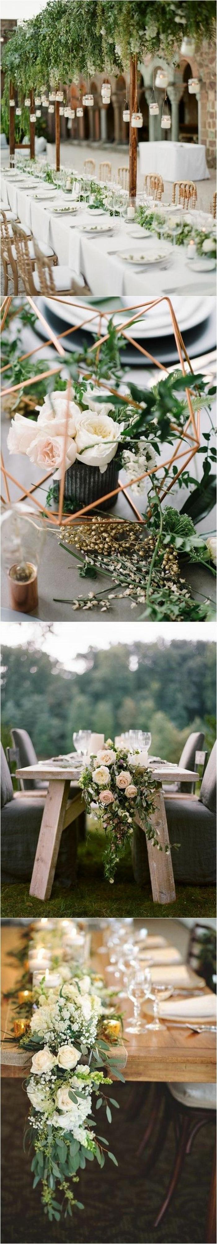 deko sommerfest, langer tisch, grüne zweige, geometrische dekoration aus messing