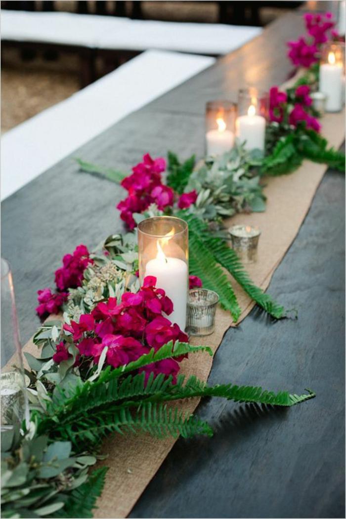 deko sommerfest, tischläufer und leinen, rosa blumen, grüne zweige