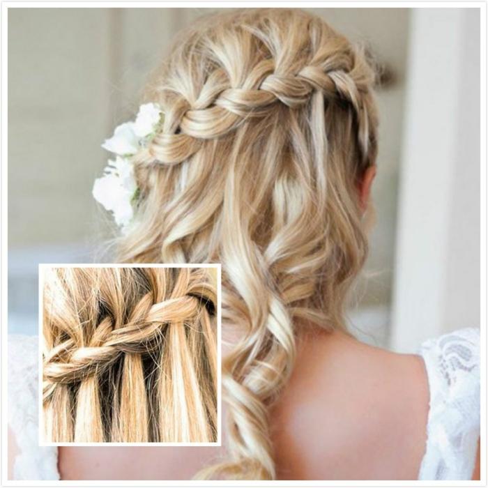 mittelalterliche Frisuren selber machen für die Hochzeit in Detail für blonde Haare