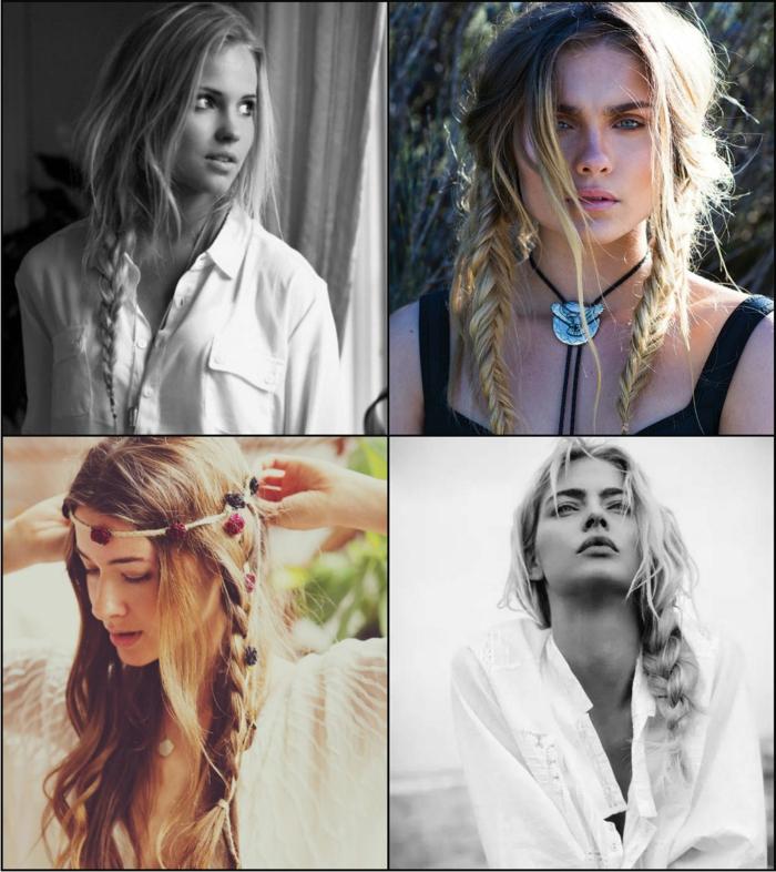 vier geflochtene Frisuren selber machen in mittelalterlichen Stil, blonde Haare