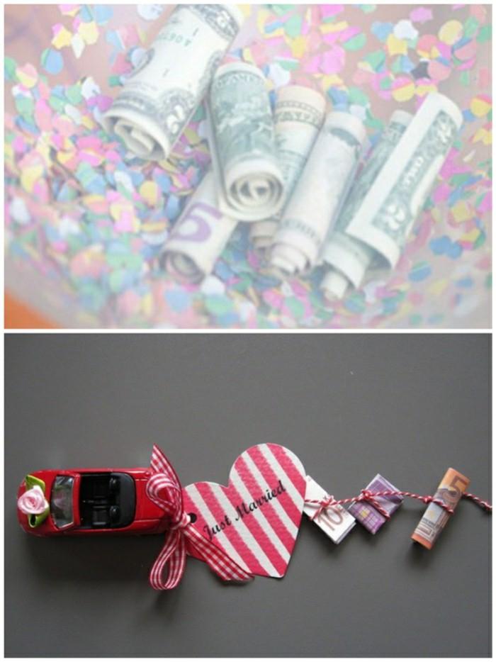 Geldgeschenke basteln, Auto-Spielzeug, Geldscheine mit Faden befestigen, Ideen für Hochzeitsgeschenke