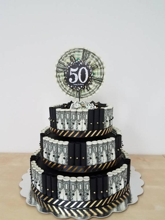 Torte für Jubiläum aus Geldscheinen gestalten, kreative Idee für 50 Geburtstag