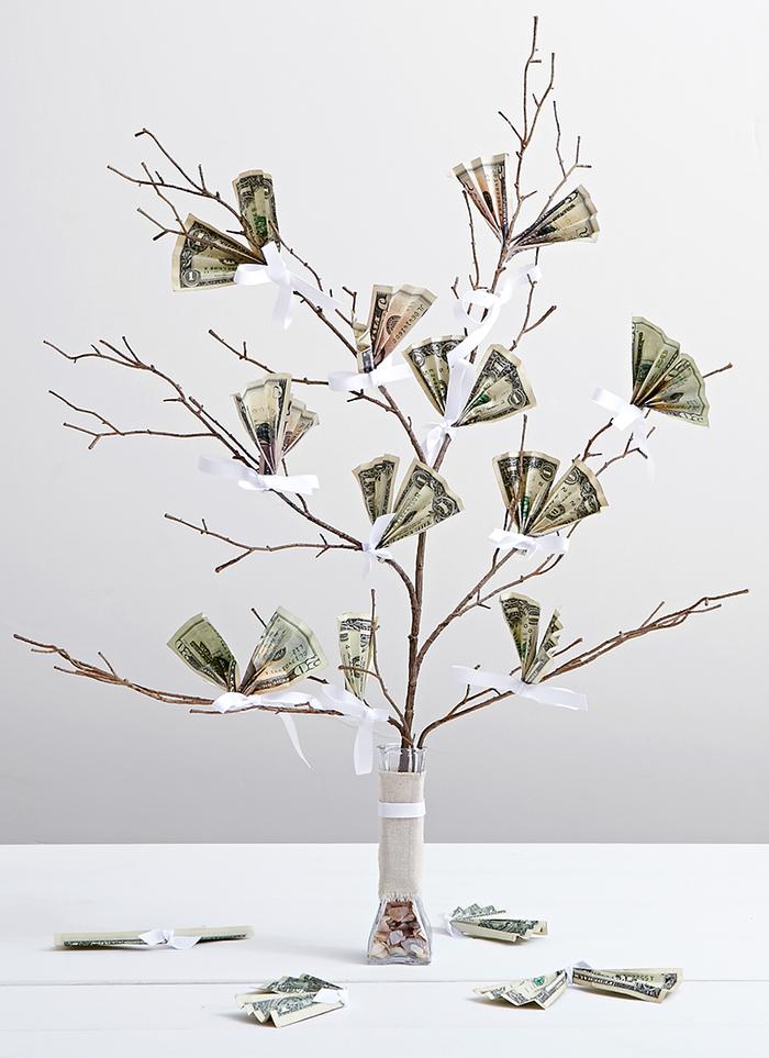 Baum mit Blättern-Geldscheinen, toller Hochzeits- oder Geburtstagsgeschenk, kreative Ideen zum Nachmachen