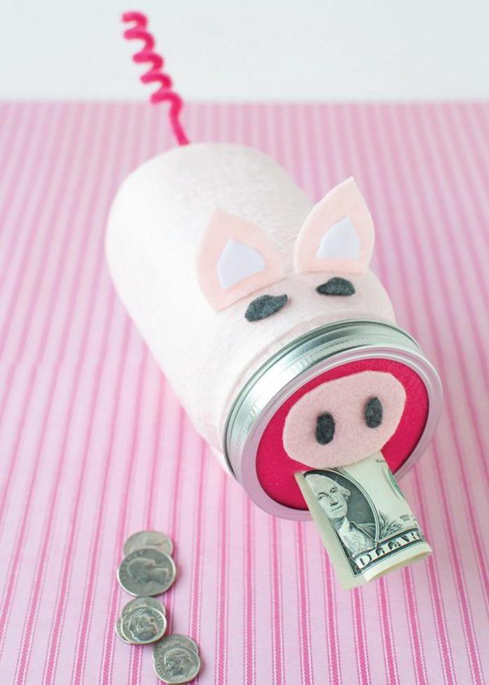 Sparschwein aus Glas selber machen, lustige Sparbüchse- tolles Geschenk für jeden Anlass