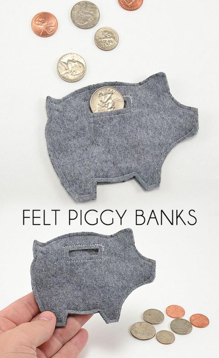 Sparschwein nähen, tolle Ideen für Geldgeschenke zum Nachmachen, kleine Sparbüchse aus Stoff