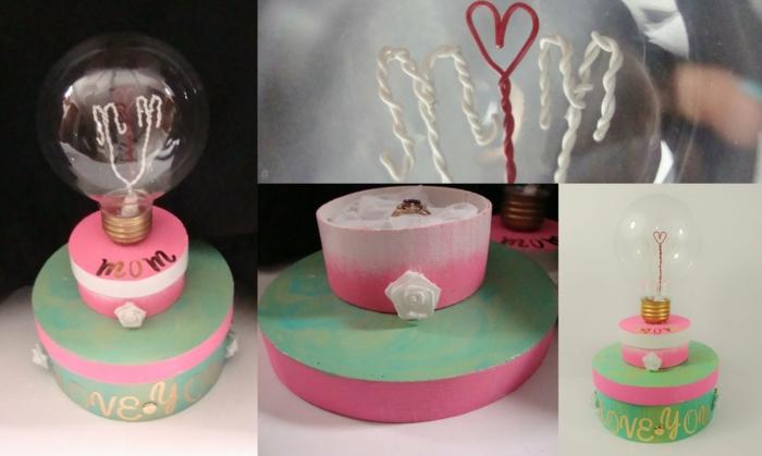eine Installation für Muttertag Geschenkideen selber erstellen in rosa und grüne Farbe
