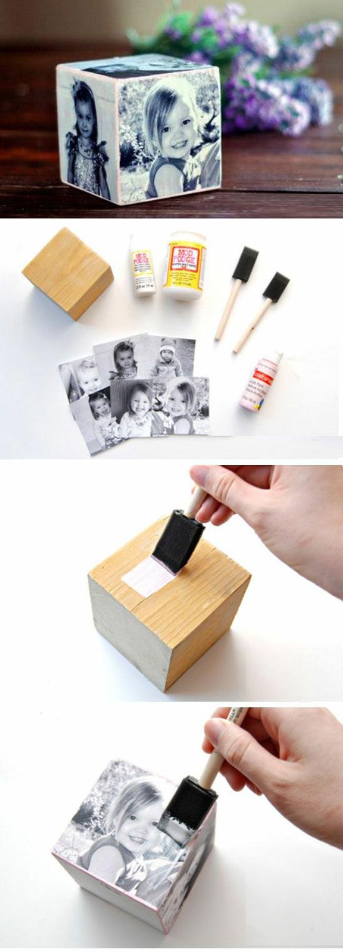 ein Würfel mit schwarz-weißen Fotos von kleinen Mädchen - Geschenk für Muttertag