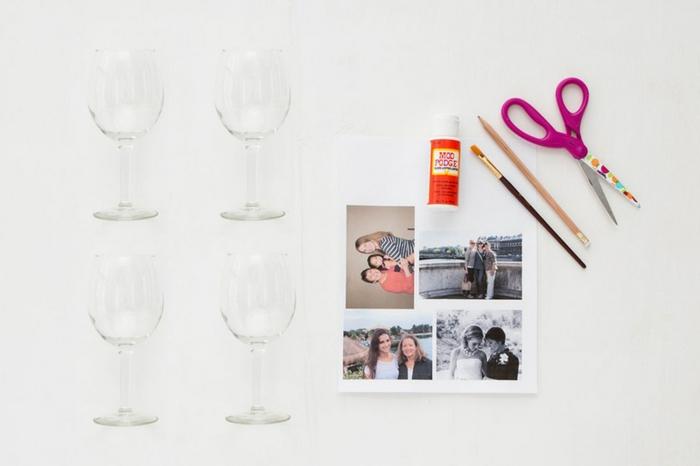 weingläser, gläser, schere, fotos, familienfotos, kleber, pinsel, bleistift