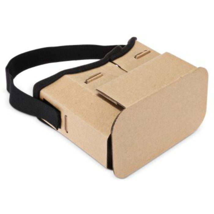 vr brille aus pappe und mit einem schwarzen gummiband - vr brille selber bauen