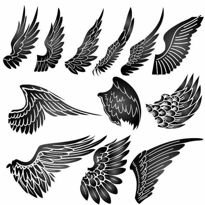 hier sind verschiedene ideen für schwarze engelsflügel tattoos mit schwarzen federn. die ihnen sehr gut gefallen könnten