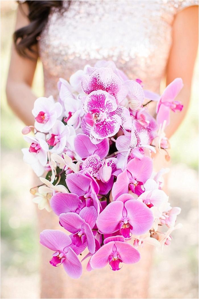 Hochzeitsstrauß-Wasserfall, rosa Orchideen, tolle Ideen für Hochzeit in Rosa