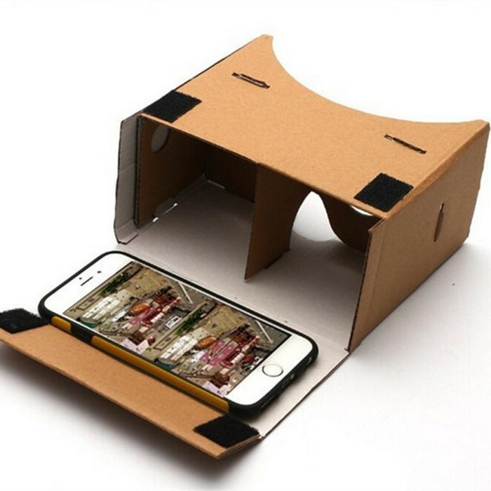 das ist eine idee für vr brille aus pappe und ein kleines weißes smartphone - vr brille selber bauen