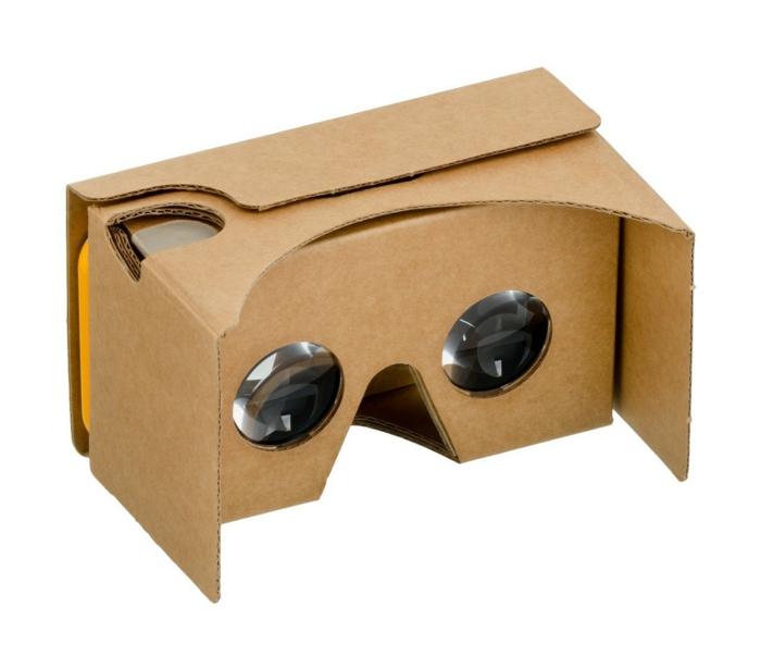 eine tolle idee für vr brille aus pappe mit kleinen okularen und einem orangen smartphone
