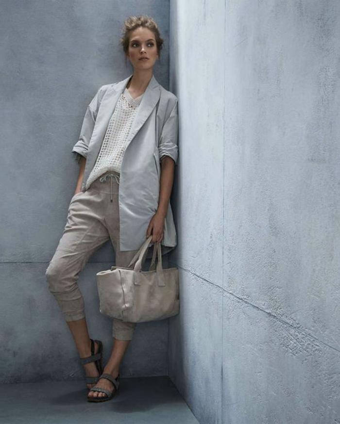 jogginghosen style zum sakko mantel und gestrickter pullover