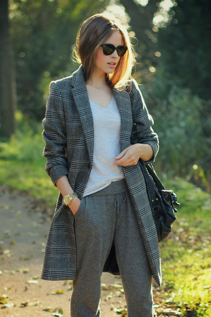 jogginghosen für damen graue farbe zum langen sakko