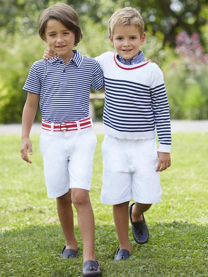 festliche Kinderkleider, Frühjahr 2017, gestreifte T-Shirt und Pullover, kurze weise Hosen