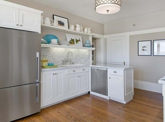 Küchenrückwand aus Marmor, Kpchenzeile, Wandbilder in der Küche, runder Designer-Kronleuchter