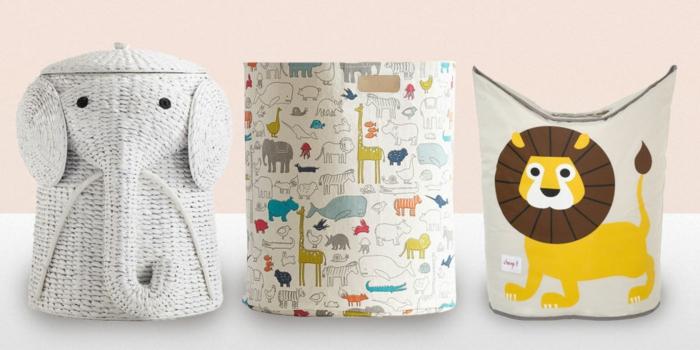 Wäscheaufbewahrung, Wäschekörbe aus Stoff mit buntem Muster für das Kinderzimmer, Elefanten-Wäschekorb