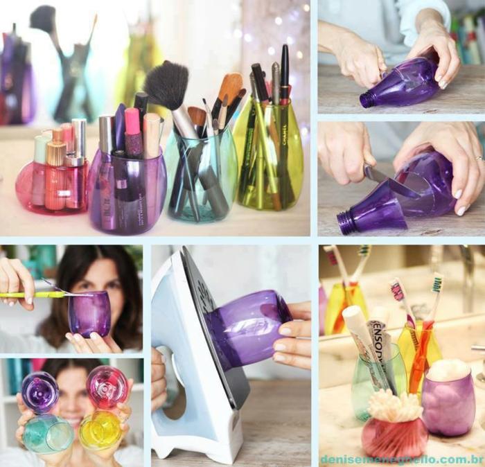 plastikflsche schneiden, bügel, schere, schminke, schminkhalter selber machen