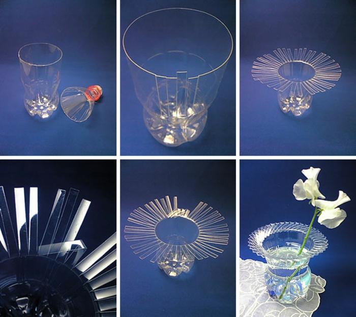 diy vase aus flasche selber machen, weiße blume, tischdeko