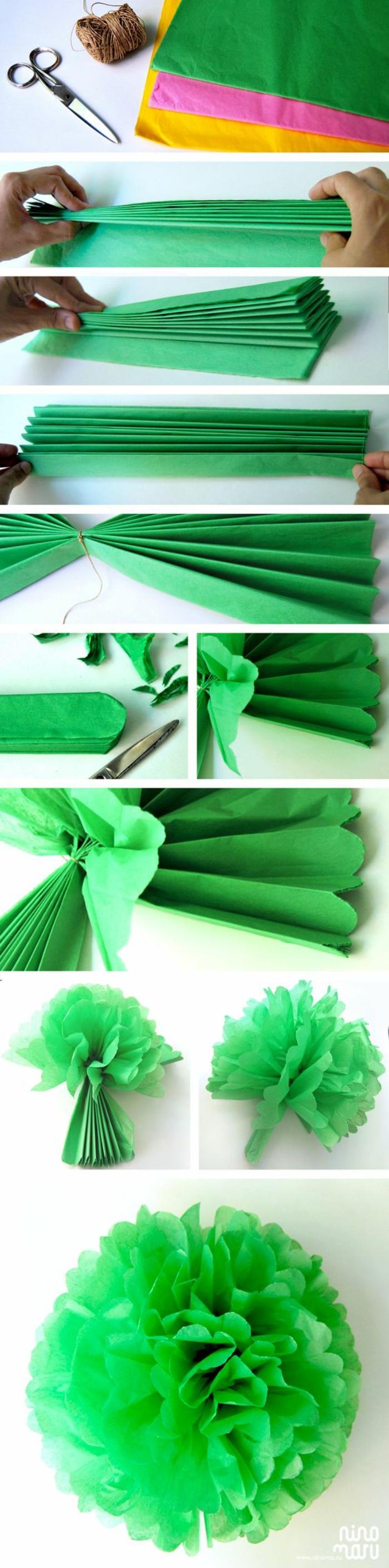 bastelideen mit papier. große blume aus grünem krepppapier falten