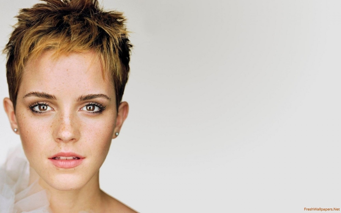 Emma Watson, Ideen für moderne Kurzhaarfrisuren, blonde Strähnen, kastanienbraune Haare, praktischer Haarschnitt
