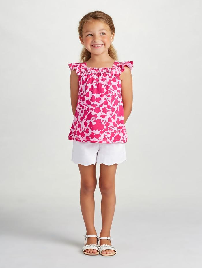 tolle Kinderkleider für den Sommer, Mädchenkleidung-rosa Top und weiße kurze Kose