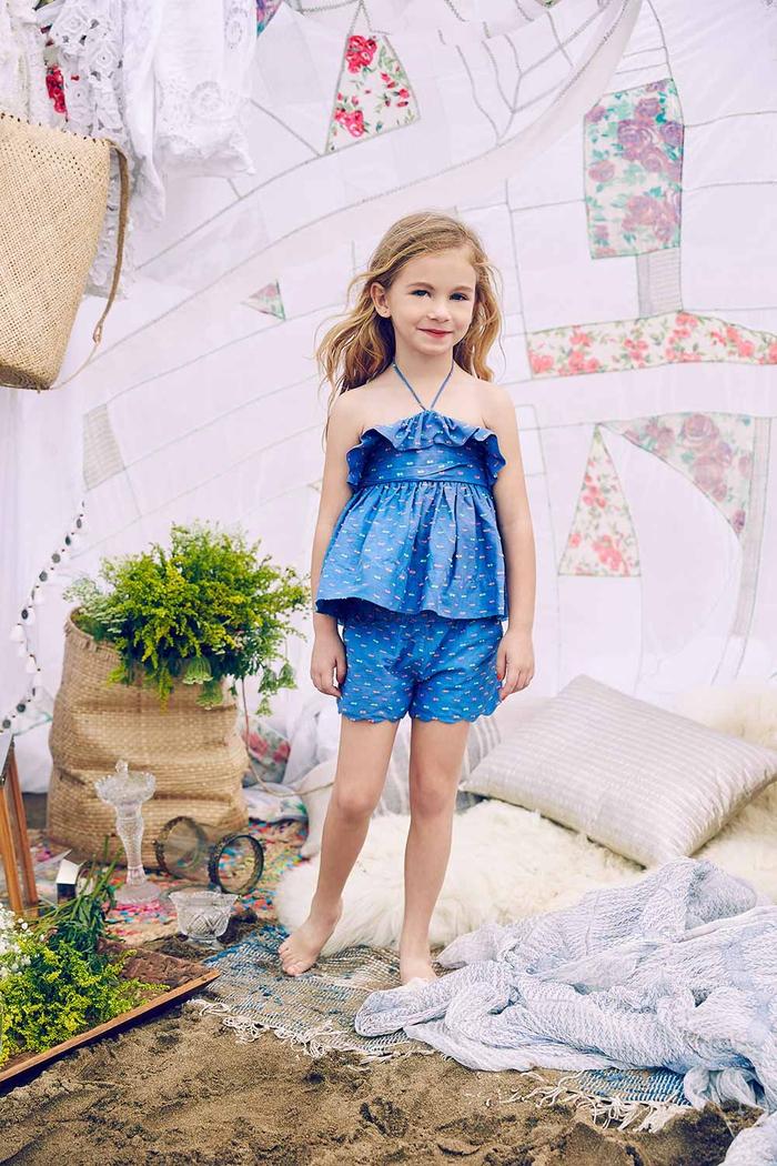 kurze Hose und Top in Dunkelblau, Sommermode für Kinder, tolle Mädchenkleidung