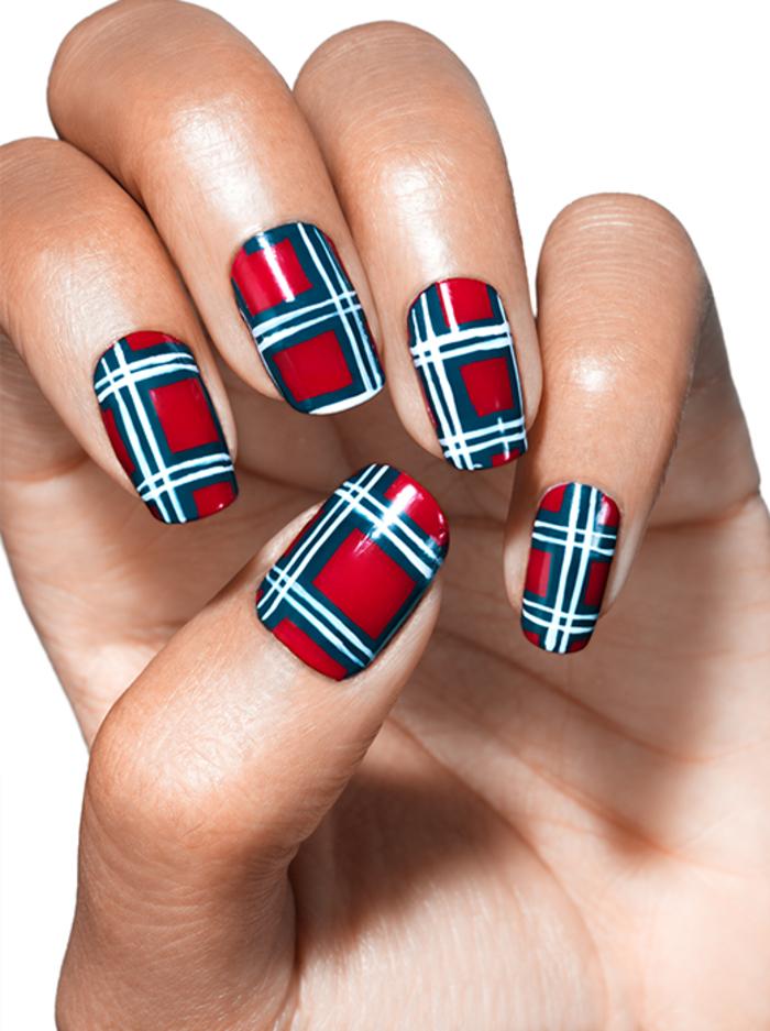 elegante Maniküre für Damen mit Stil, Rot, Schwarz und Weiß stilvoll kombinieren