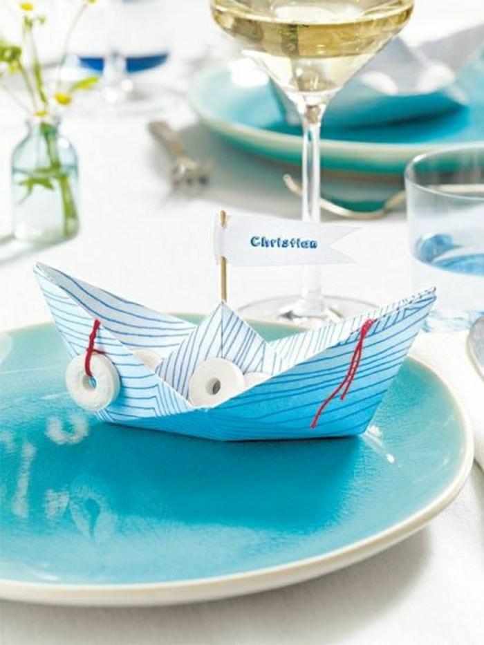 maritime sommerdeko basteln aus tonkarton segelschiff deko