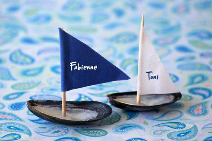 basteln mit muscheln kleine segelschiffhen maritim blau weiss