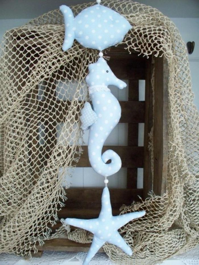 girlande maritim selber machen wanddeko maritim blau weiß