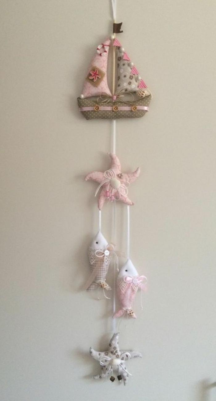 wanddeko basteln deko elemente selber nähen fische und segelschiff