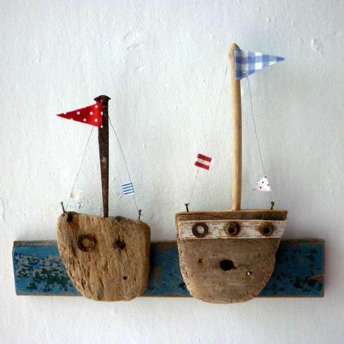 wanddeko deko elemente segelschiffchen aus treibholz und stäbchen