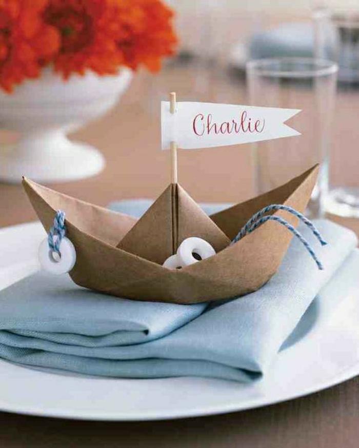 maritime sommerdeko als tischdeko hochzeiz segelschiff aus karton