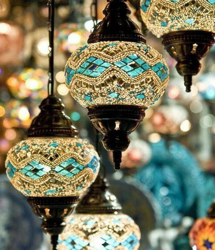 arabische möbel marokkanische lampen mit einzigartigem design glasstücke in transparenter und blauer farbe