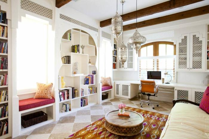 orientalische deko ideen für zimmergestaltung jugendzimmer ideen bücherregale runder tisch fenstersitz büro